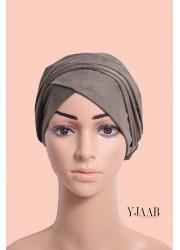 suede turban to put on - Green kaki