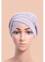 knitting turban to put on -  Light grey