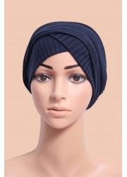 knitting turban to put on -  Dark blue