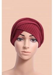 knitting turban to put on - Red
