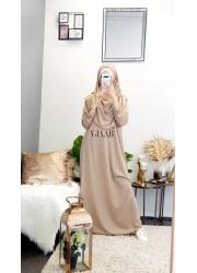Integrated hijab prayer abaya - Taupe