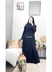 Integrated hijab prayer abaya - Black
