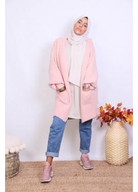 Puff sleeve cardigan - Pink