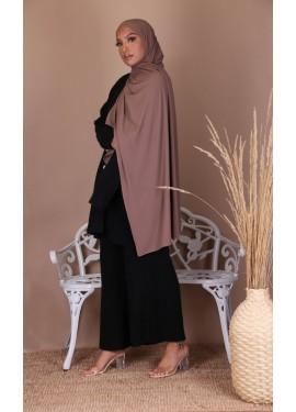 ribbed jersey hijab - Choco