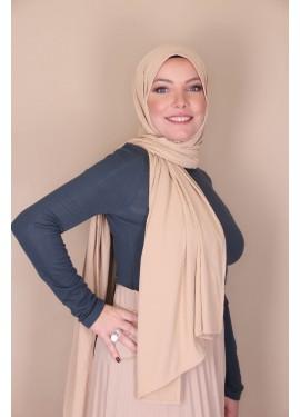 ribbed jersey hijab - Camel