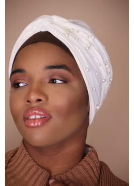 pearl turban - white