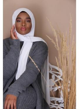 ribbed jersey hijab - WHITE