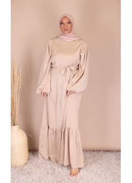 Satin dress - Beige