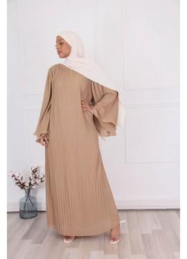 Robe plissée - Camel