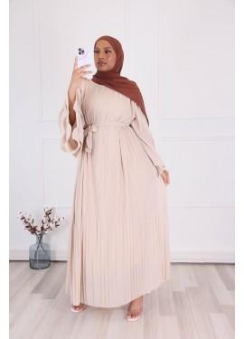 Pleated dress - Beige