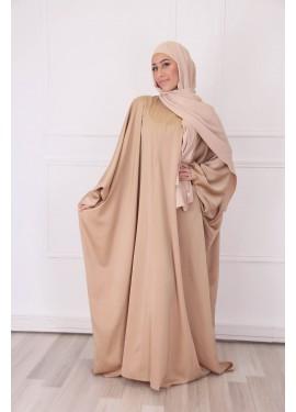 Satiny butterfly abaya - Camel