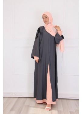 Embroidered Dubai Abaya - Gray