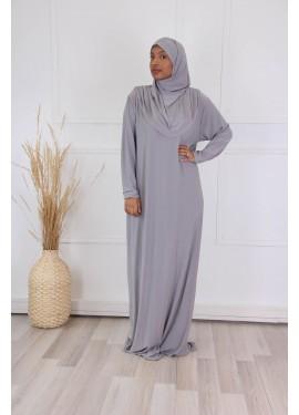 Prayer abaya - Pearl grey