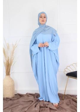 Pleated abaya - Baby blue