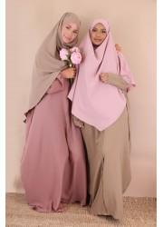 Khimar short medina silk - pale pink