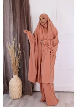 Jilbab 2 pieces - peach