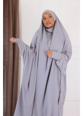 Jilbab 2 pieces - Pearl grey